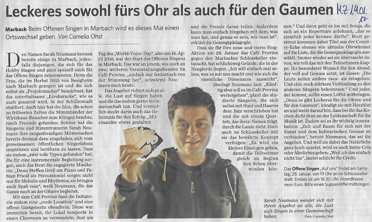 Marbacher Zeitung Vorschau