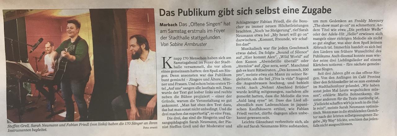 Marbacher Zeitung Bericht